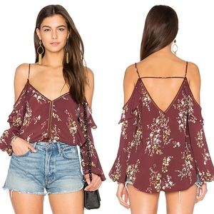 ASTR The Label Chantal Burgundy Multi Floral Top S